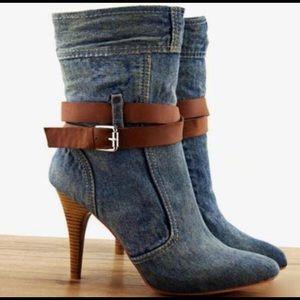 Women's vintage blue Jean high heel stiletto
